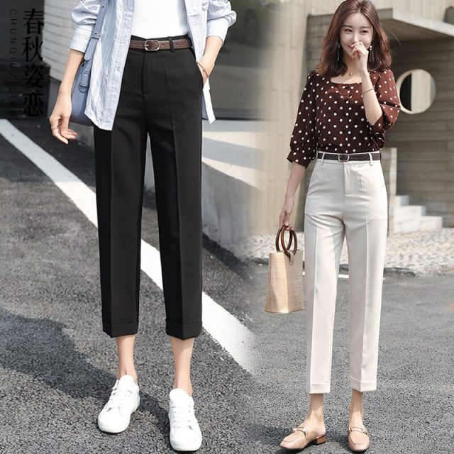 Straight Pants Women 2019 Summer High Waist Stretchy Mujer Pantalon Femme Office Lady Trousers Casual Ankle-Length Woman Pants