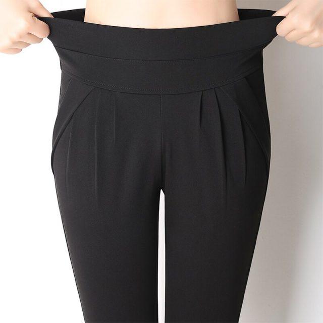 2019 Summer Harem Pants Elastic High Waisted Calf-length Women Casual Thin Pants Pantalones Mujer Big Plus Size S~4XL 5XL 6XL