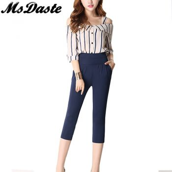 2019 Summer Harem Pants Elastic High Waisted Calf-length Women Casual Thin Pants Pantalones Mujer Big Plus Size S~4XL 5XL 6XL
