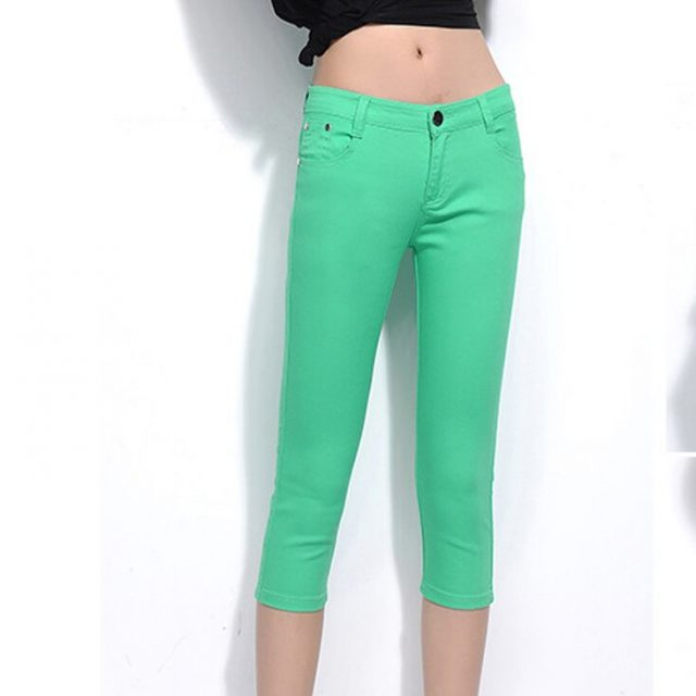 Capris Pants for Women 2019 Summer Calf-length Casual Ladies Pencil Trousers Elastic Skinny Candy Capris Woman Slim Denim Pants