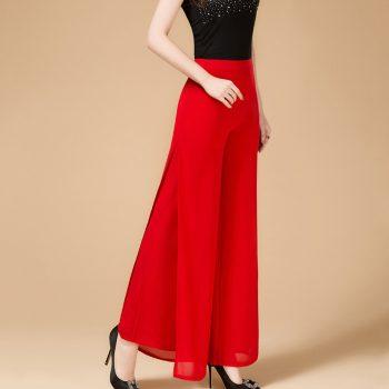 Flare Pants Summer Wide Leg Women Pants Plus Size 26-34 Celebrity Party High Waist Loose Lady Chiffon Trousers Pantalon Femme