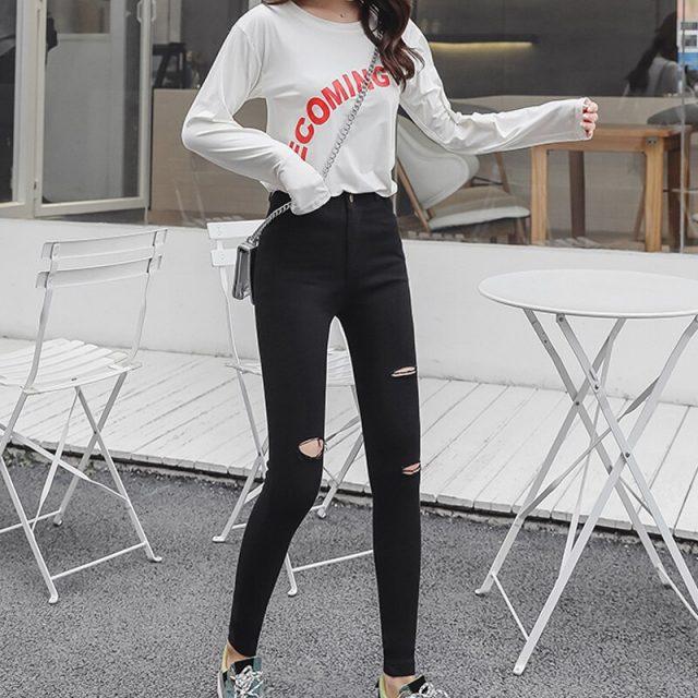 Pants Women 2019 Spring Torn Elastic Ladies Trousers  Ankle-length High Waist Casual Female Leggings Woman Trousers