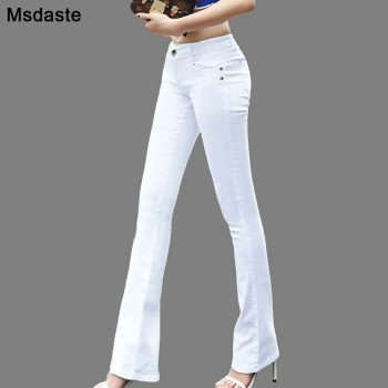 Women Jeans 2019 Candy Color Bodycon Woman Denim Pants Workwear High Waist Slim Elastic Ladies Flare Trousers pantalone femme