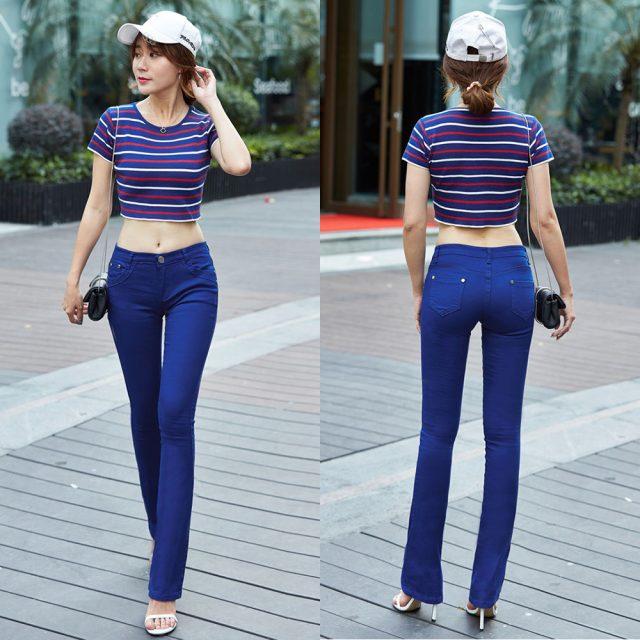 Women Jeans 2019 Candy Color Bodycon Woman Denim Pants Workwear High Waist Slim Elastic Ladies Flare Trousers pantalone femme