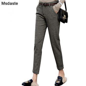 Winter Harem Pants Women 2019 Autumn High Waist Dense Female OfficeTrousers Vintage Plaid Ankle-length Casual Woman Pencil Pants