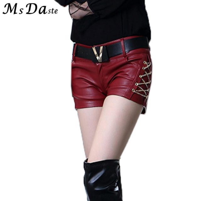 2019 Spring Women Bodycon Shorts Femme Pu Leather Lady Slim Casual Skinny High Waist Shorts Boots Short Feminino Black Red S~XL