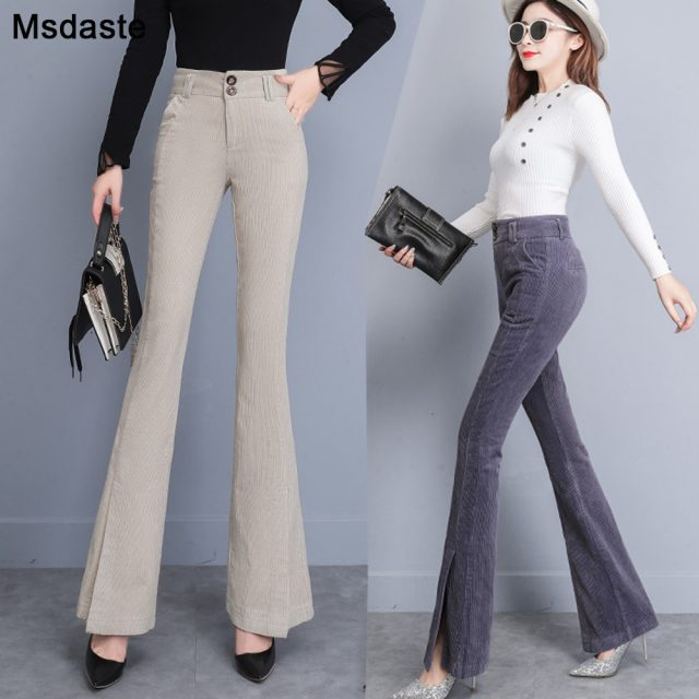 Flare Pants Women 2019 Autumn Winter High Waist Casual Female Skinny Trousers Elegant Office Lady Elastic Waist Flare Hem Pants