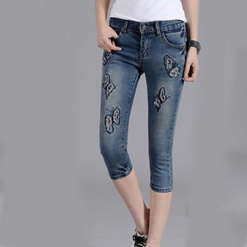 Ripped Jeans for Women Butterfly Casual Woman Denim Jeans Femme 2019 New Summer Vintage Skinny Pencil Pants Pantalon femme Mujer