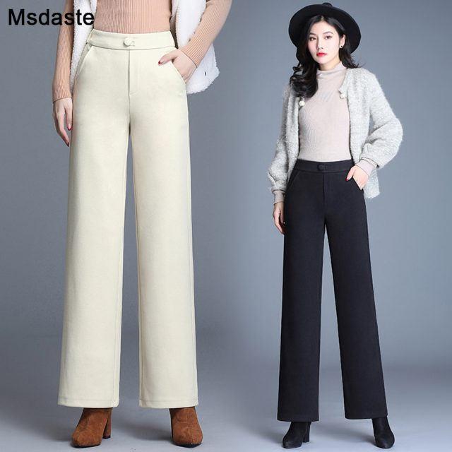 High Waist Woolen Straight Pants For Women 2019 New Autumn Winter Casual Loose Thick Cargo Pants Female Trousers Ladies Pant