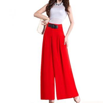 Flare Trousers Women 2019 Summer Wide Leg Women Belted Pants  Plus Size 27-33 Sizes High Waist Chiffon Office Pantalon Femme