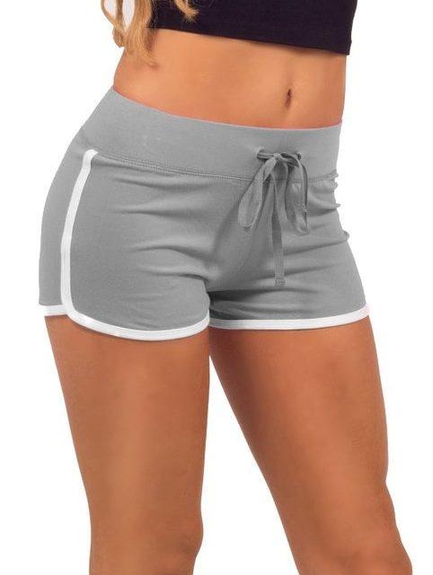 2017 Summer Leisure Women Cotton Shorts Contrast Binding Side Split Elastic Waist Loose Casual Shorts Yo-Ga Short Feminino