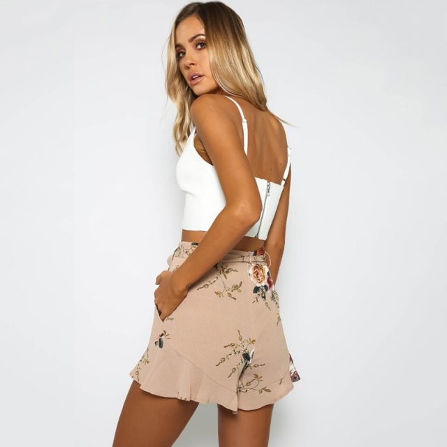 Stylish Women clothes Bandage pocket High Waist Boho Casual Polyester Floral print Beach Summer Shorts one pieces