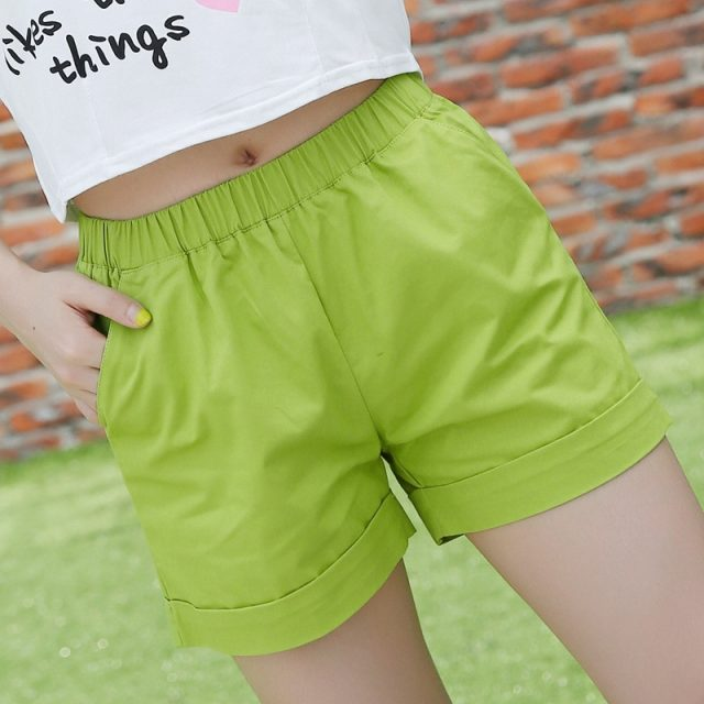 New 2017 summer candy color women shorts casual style ladies shorts hot sale plus size cotton female shorts femininos
