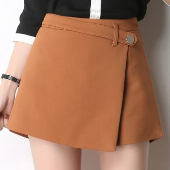 Summer Shorts For Women 2019 High Waist Casual Irregular Wide Leg Short Slim Cotton Plus Size Solid Shorts Skirts