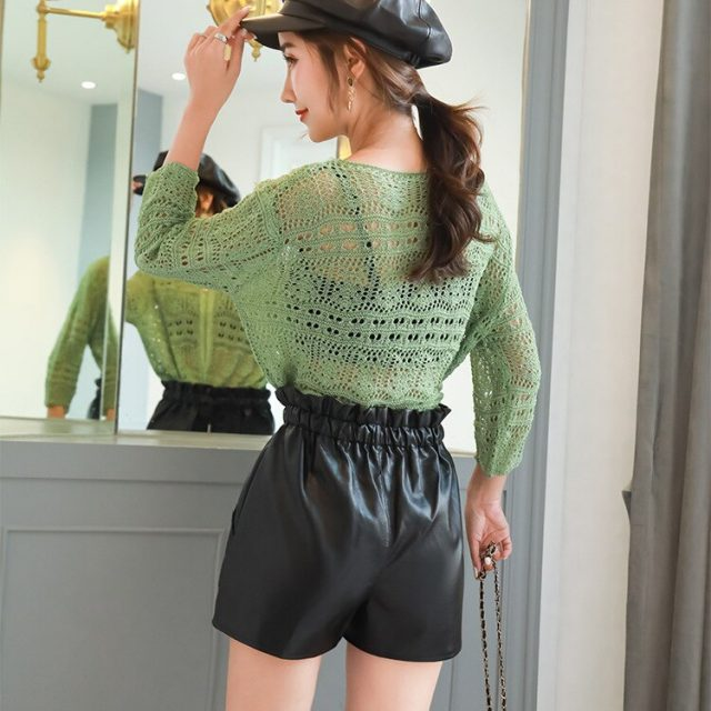 2019 Autumn New Korean Style Female Sexy Leather Shorts High Waist Loose Wide Leg Short Femme Elastic Waist Belt Free Shipping