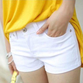 2019 Summer Womens Casual Jeans Shorts Plus Size Ladies Solid White Black Denim Shorts Female Slim Leisure Denim Shorts Feminino