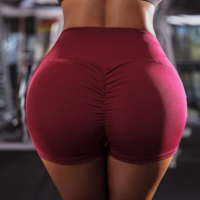 2019 New Women High Waist Back Ruched Hip Lifting Shorts Workout Stretch Gym Bottoms