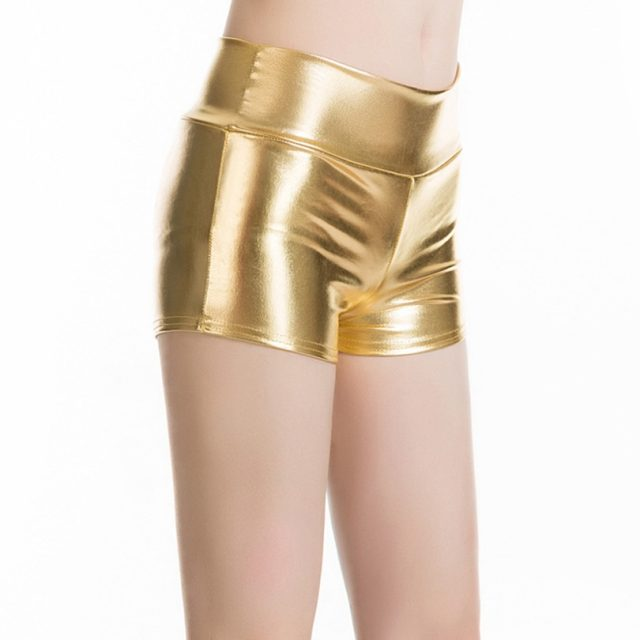 YRRETY Plus Size Adult Silver Metallic Shorts Rave Booty Shorts Mid Waist Cheer Shorts PU Shiny Dance Woman Shorts Sexy M-XXL