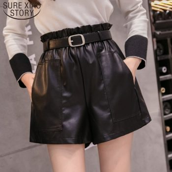 Elegant Leather Shorts Fashion High Waist Shorts Girls A-line  Bottoms Wide-legged Shorts Autumn Winter Women 6312 50