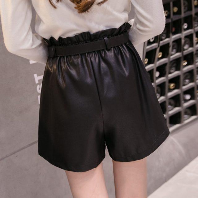 Elegant Leather Shorts Fashion High Waist Shorts Girls A-line  Bottoms Wide-legged Shorts Autumn Winter Women 6312 50