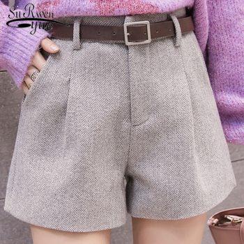 Autumn and Winter 2019 New Korean Version Women Shorts Casual High Waist Shorts Sashes Pockets Wide Leg Women Shorts 5636 50