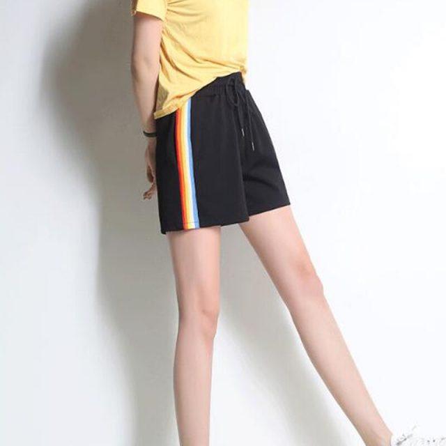 Striped Side Drawstring Shorts 2018 Summer Elastic Waist Athleisure Shorts Women Black Mid Waist Sporting Shorts