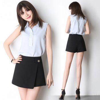 Summer Shorts For Women 2019 High Waist Casual Irregular Wide Leg Short Slim Cotton Plus Size Solid Shorts Skirts