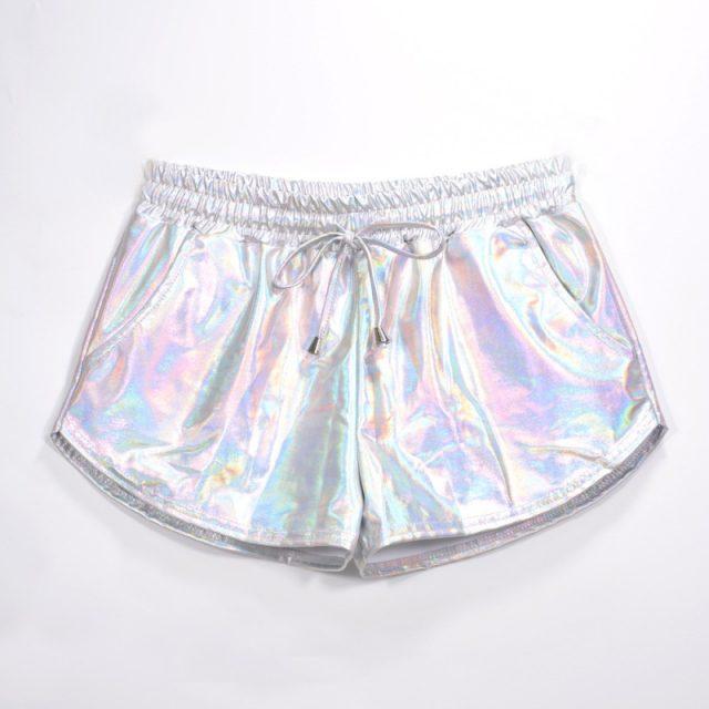 Women Shiny Metallic Hot Shorts 2019 Summer Holographic Wet Look Casual Elastic Drawstring Festival Rave Booty Shorts