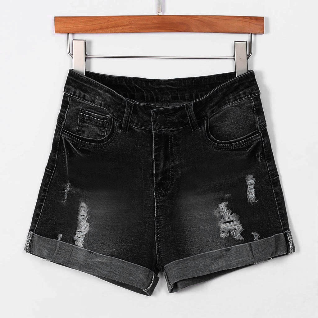 New Summer ladies hole denim shorts women's low waist washed holes short paragraph mini jeans jeans shorts spodenki damskie 40*