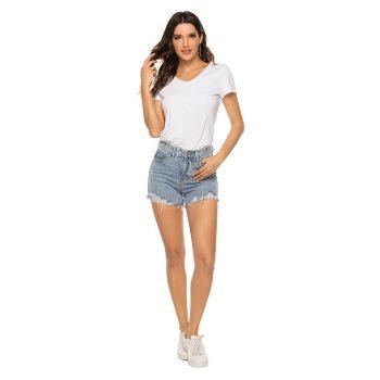 2019 Fashion Hot New women's summer casual mid-rise hole short jeans denim female pocket wash denim shorts шорты женские 40*