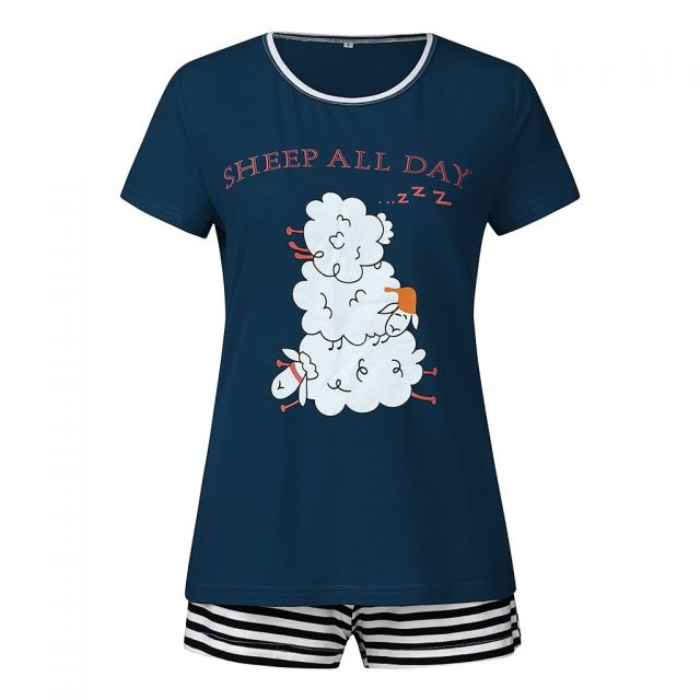 2019 fashion new hot ladies short-sleeved letter cartoon cute print T-shirt top + striped shorts pajamas set пижама женская 40*