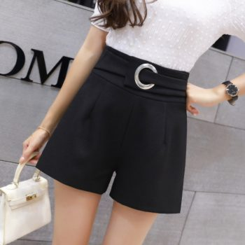 Chiffon Korean Skirt Half-length Skirt Women  2019 High Waist Summer Irregular Shorts Women Chic Black Shorts Women