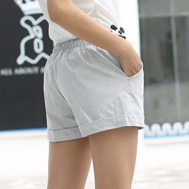 DANJEANER 2018 Summer Style Shorts Women Candy Color Elastic With Belt Short Women Home casual Cotton shorts