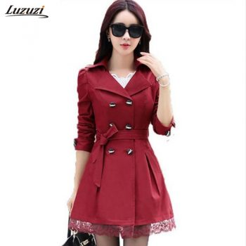 Luzuzi 1PC Trench Coat For Women Spring Autumn Coat Double Breasted Lace Casaco Feminino Autumn Outerwear Abrigos Mujer Z015