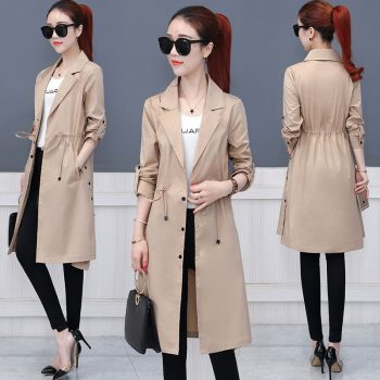 Khaki Long Trench Coat Spring 2019 Lace Up Waist Lantern Sleeve Pocket Coat Women Solid Elegant Coats Female Plus Size