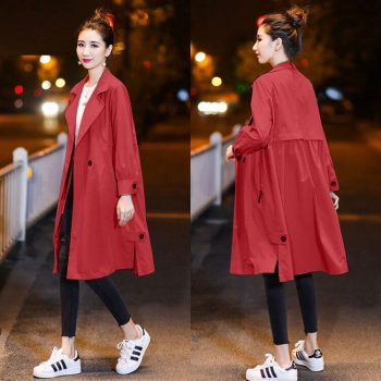 Women Long Autumn Trench Big Size Loose Wist Sexy Autumn Solid Pocket Coat Long Sleeves V-Neck Apparel Top Fashion Thin Overcoat