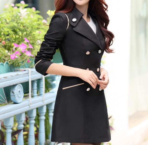 Spring Trench Coat For Women 2019 Fashion Turn-down Collar Double Breasted Candy Color Long Autumn Coats Plus Size M-XXXL