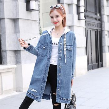 Women Long Hooded Trench Plus Size 2019 New Spring and Autumn Long-sleeve Trench Coat Female Long Denim Coat