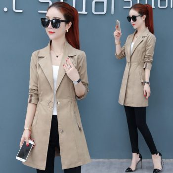 Women autumn office long trench full sleeve drawstring Waist coats casaco feminine casual streetwear tops