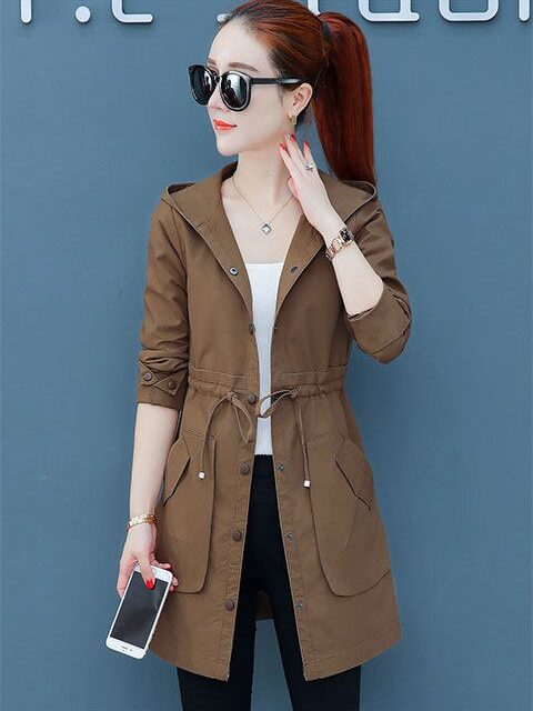 2019 Fall Woman Clothing Solid Color Long Sleeved Casual New Women Coat Stand Collar Pockets Trench Coat