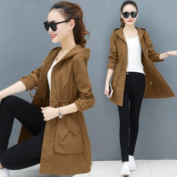 2019 New Spring Autumn Trench Coat Women Causal Long Sleeve With Hood Medium Long Army Green Female Coat Casaco Feminino Coats