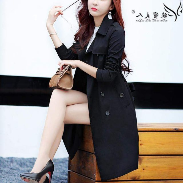 Trench Coat for Women 2019 Streetwear Turn-down Collar Slim Fit Double Breasted Autumn Ladies Long Coat Plus Size 3XL 4XL