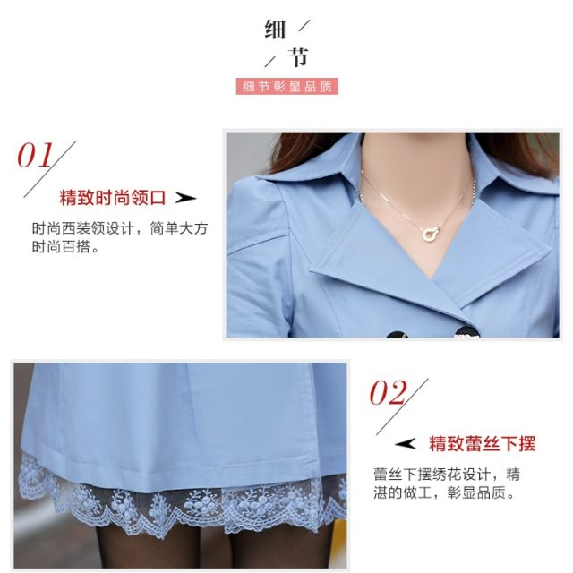 2019 Spring/Autumn Trench Coat for Women Streetwear Lace Turn-down Collar Slim Fit Double Breasted Casaco Feminino Plus Size 3XL