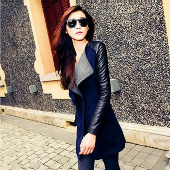 Trench Coat for Women Streetwear Turn-down Collar Slim Patchwork Autumn Coat Women Overcoat