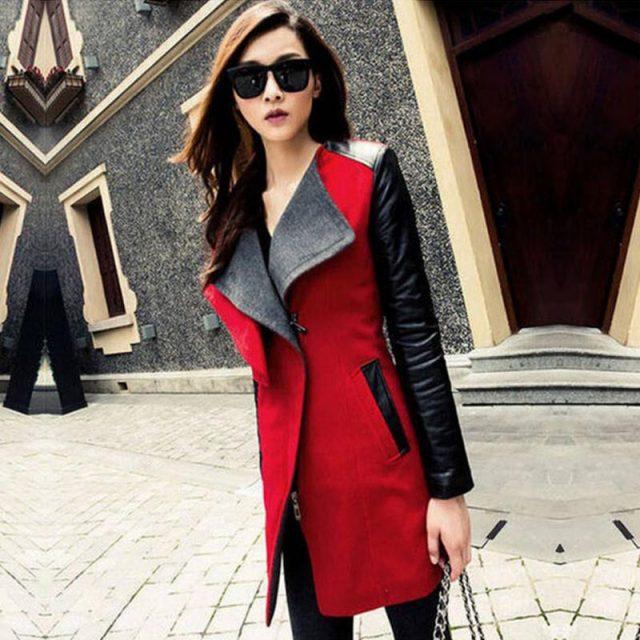 Trench Coat for Women Streetwear Turn-down Collar Slim Patchwork Autumn Coat Women Overcoat