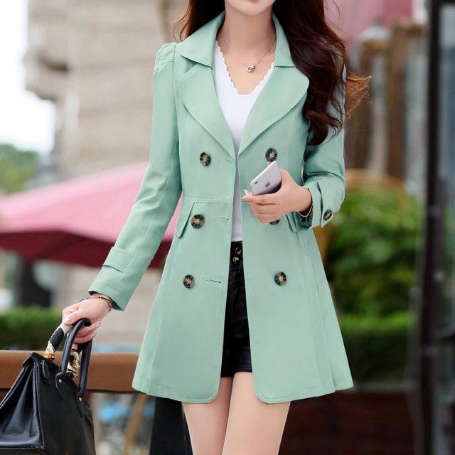 Spring Trench Coat for Women Streetwear Turn-down Collar Double Breasted Coats Female Plus Size 3XL 4XL Sobretudo Feminino
