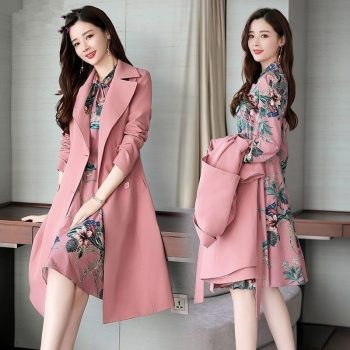 Spring Autumn Trench Coat Slim OL Ladies Trench Coat And Dress Long Women Windbreakers Plus Size Two Pieces Women Sets Outwears