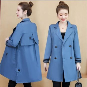 Fashion Women Trench Coat Autumn Medium-Long Female Coat Plus Size 3xl Button Women Clothes Turn-Down Collar Windbreak M257