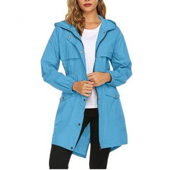 Single-breasted Zipper 2019 Autumn Winter Women's Coat Solid Pink Drawstring Slim Hooded Split Female Windbreaker Long Jacket 5#
