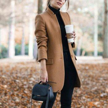 Formal Wool Coat Blend Jacket Women New Style Long Solid Outerwear Warm Autumn Winter Woolen Overcoat Fleece Lady Trench Coat 4#